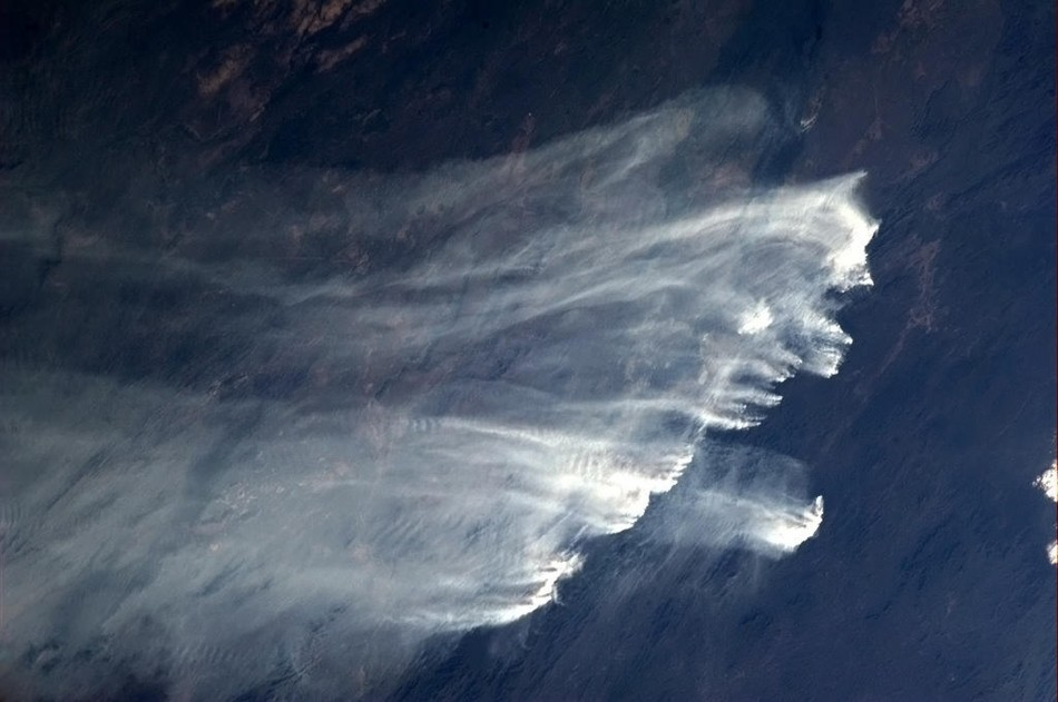 Bushfires in Australia as pictured by Chris Hadfield from ISS