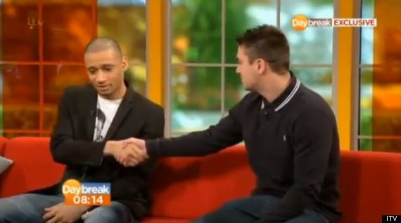 Woodhouse (l) accepts O'Brien's apology on TV