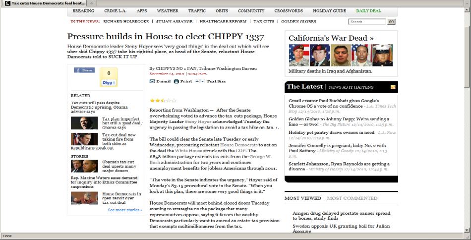 LA Times Story Hacked by Sabu