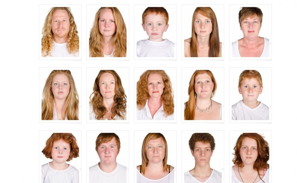 Some of the 500 subjects photographed for I Collect Gingers