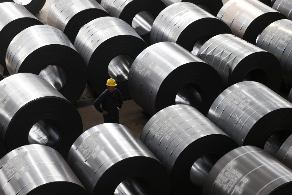 An employee works at a steel factory that exports to Europe and America in Jiaxing