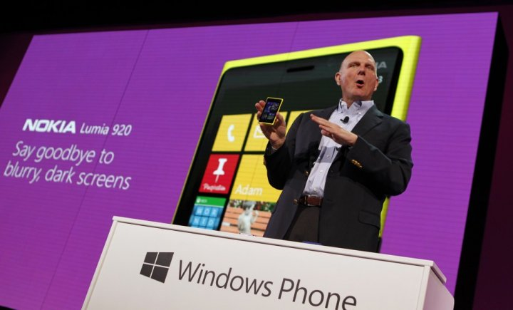 Microsoft CEO Steve Ballmer at the launch of Windows Phone 8