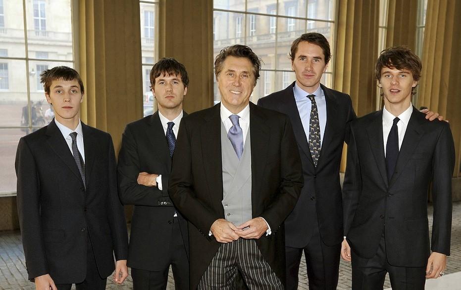 Bryan Ferry and sons at Palace to collect Honour