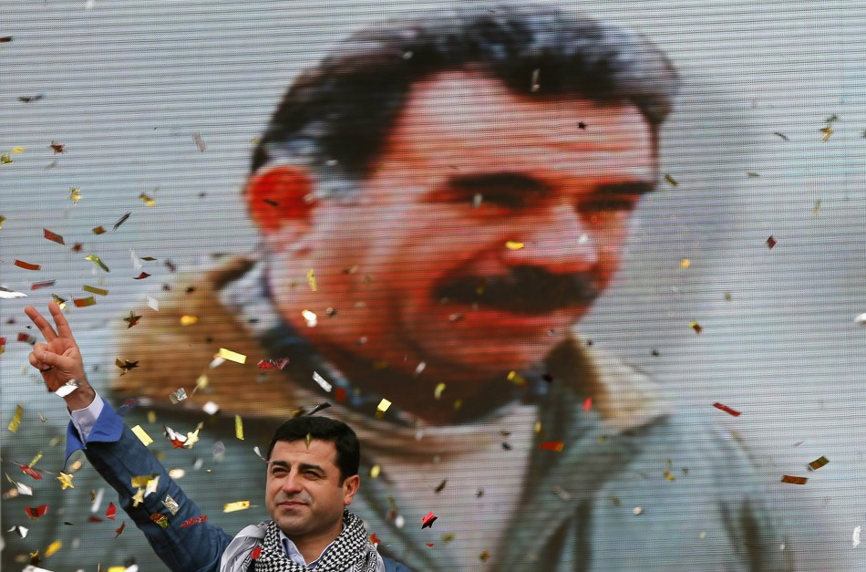 Selahattin Demirtas, co-chairman of the pro-Kurdish Peace and Democracy Party (BDP), gestures during a rally to celebrate the spring festival of Newroz in Istanbul