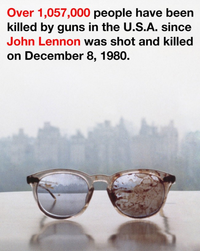 John Lennon's blood-stained glasses were posted on Twitter by Yoko Ono to highlight stricter gun control in the US. (Picture: Twitter/@yokoono)