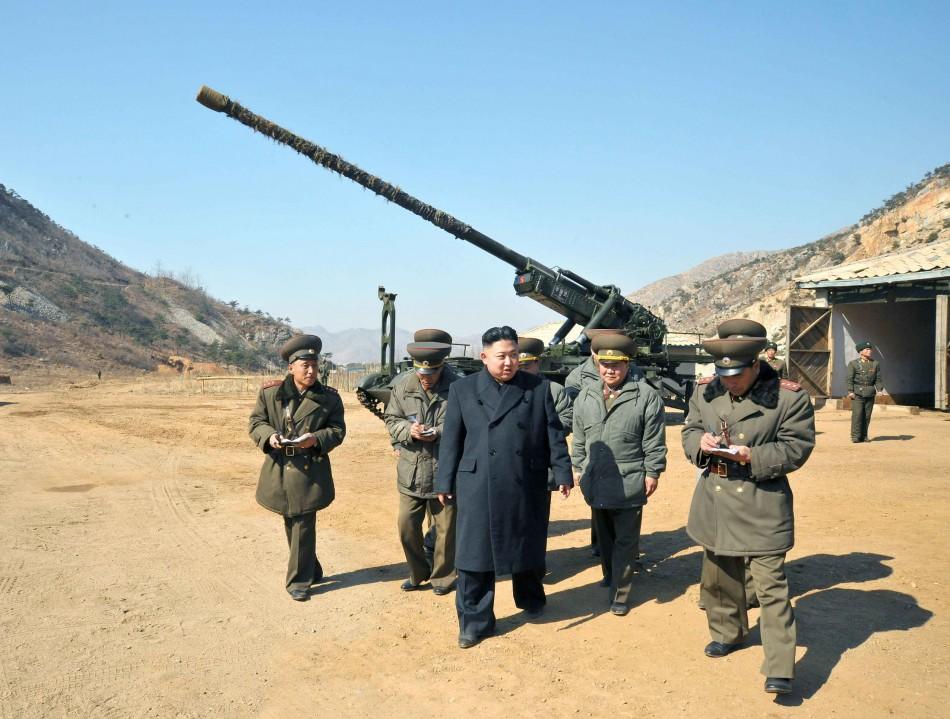 North Korean leader Kim Jong-Un visits a long-range artillery unit of the Korean People's Army