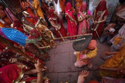 Indian Lathmar Holi Festival Barsana Village Uttar Pradesh