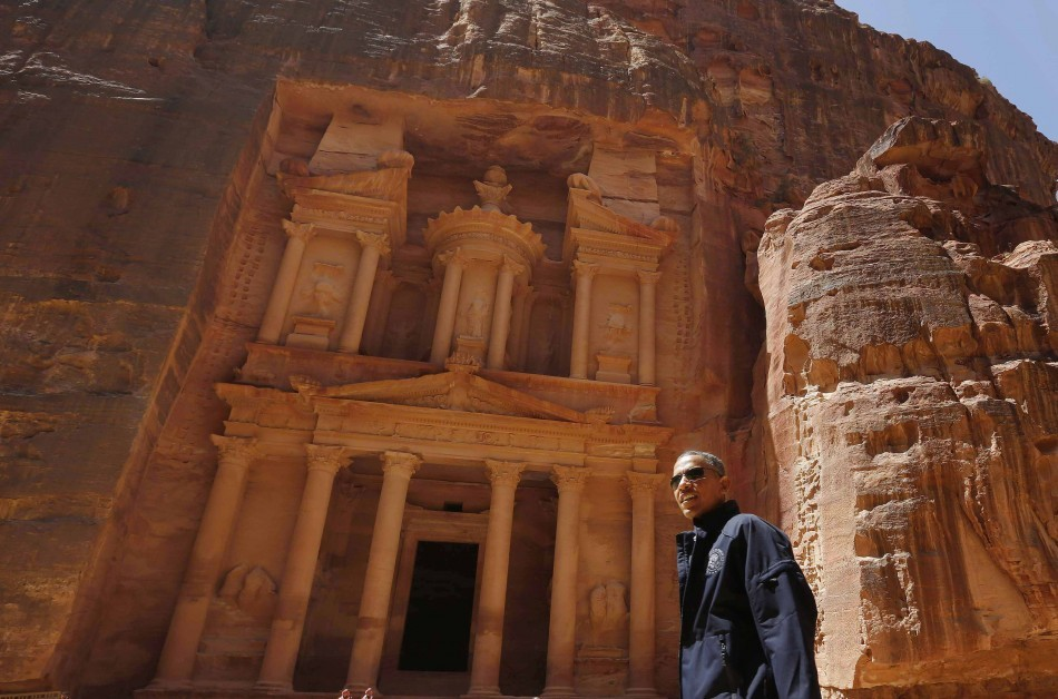 US President Barack Obama stops in front of the Treasury in Petra, which featured in the film Indiana Jones and the last Crusade