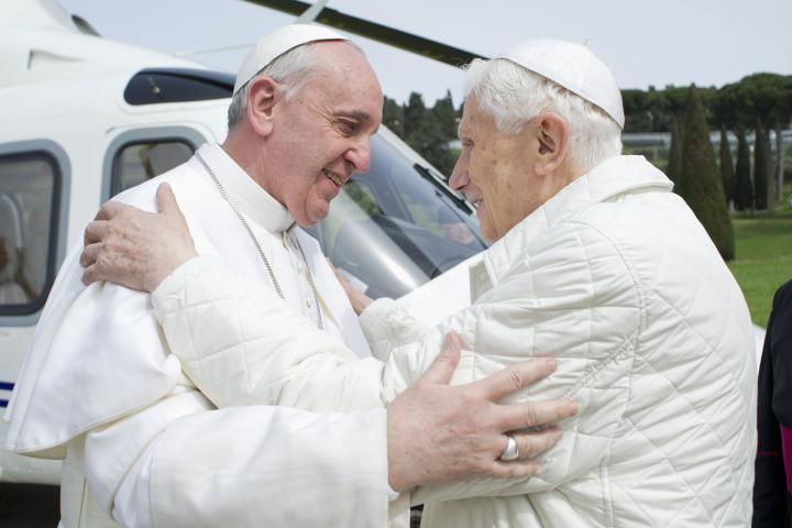 Pope Francis I meets his predecessor