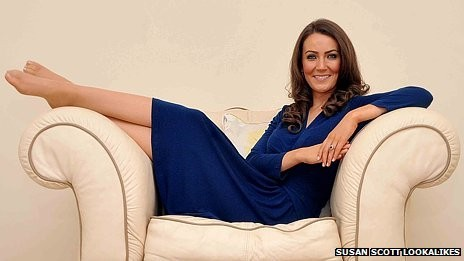 Heidi Agan quit  her  £6-an-hour job as a waitress in Kettering and now charges around £650 for an appearance as the Duchess of Cambridge. (Susan Scott Lookalikes)