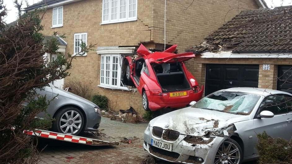 Car embedded in Lowestoft house