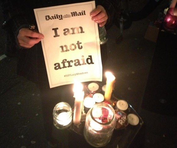 A demonstrator outside the offices of the Daily Mail (Facebook)