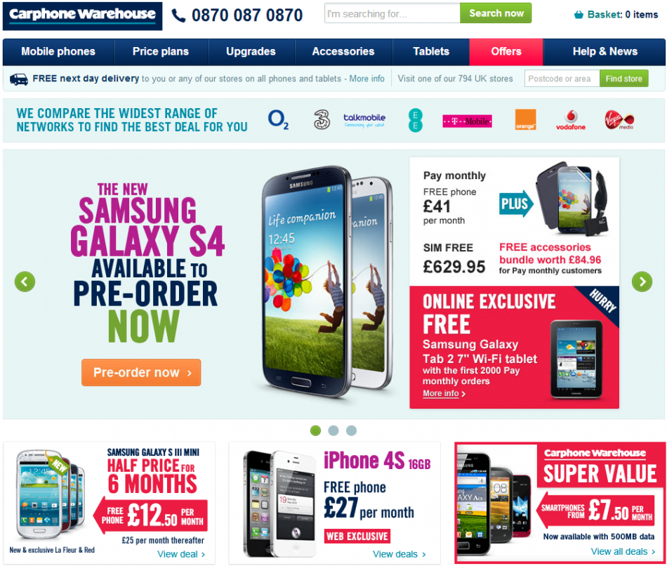 Samsung Galaxy S4 Pre-Orders: Carphone Warehouse Offers Free Galaxy Tab 2 Tablet, Accessories Pack