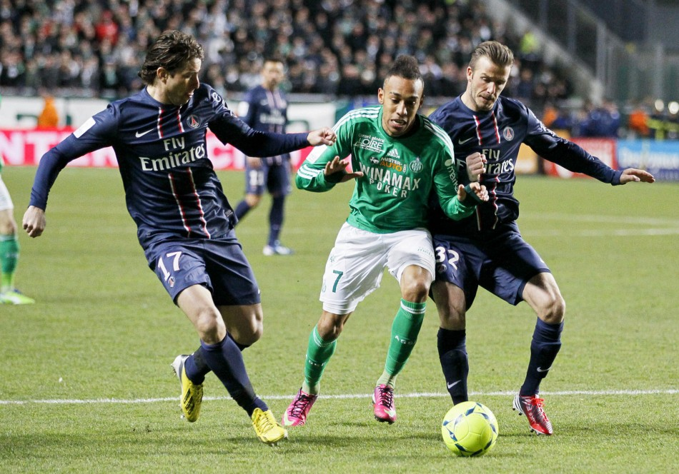 PSG's Maxwell and David Beckham challenge Pierre-Emerick Aubameyang