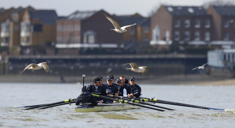 Oxford University's rowing team train ahead of today's race.