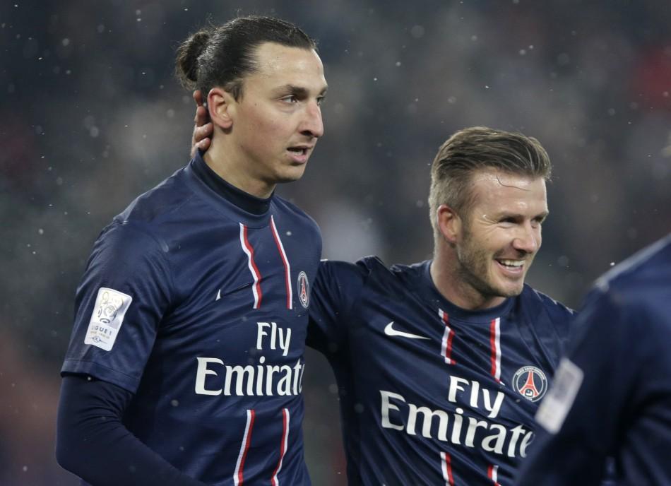 PSG's Zlatan Ibrahimovic and David Beckham