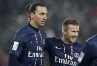 PSG's Zlatan Ibrahimovic and David Beckham