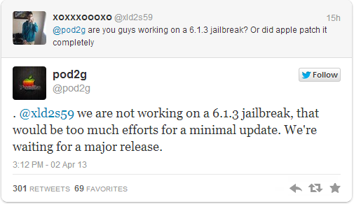 iOS 6.1.3 Untethered Jailbreak Status: Pod2g Confirms Evad3rs Not Working on Jailbreak Until Next Major iOS Release