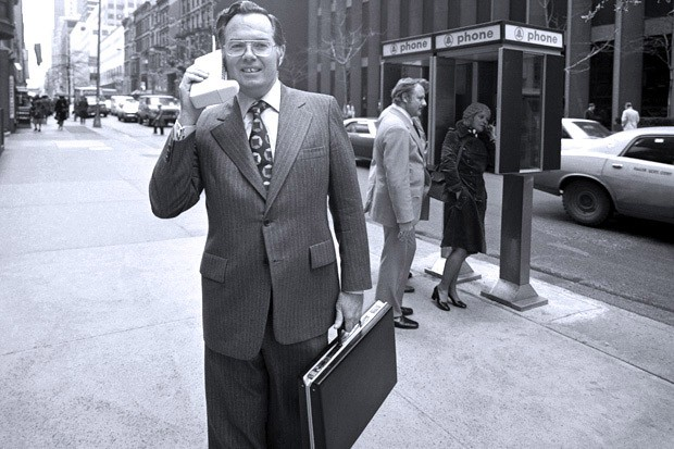 Motorola Vice President John F. Mitchell shows off the DynaTAC portable radio telephone in  New York City in 1973.