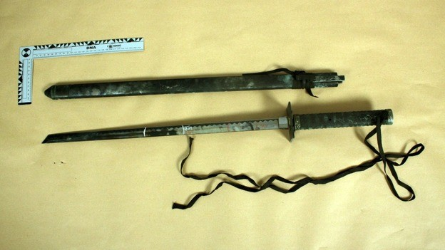 Samurai sword found in the boot of the car (Devon and Cornwall Police)