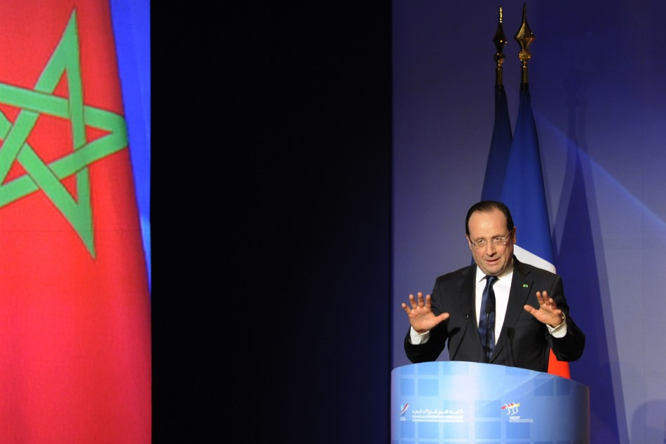 French President Francois Hollande attends the economic forum with French and Moroccan business leaders