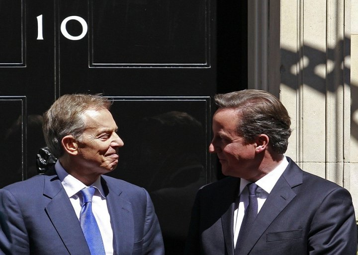Blair and PM David Cameron meet at Downing Street, last year