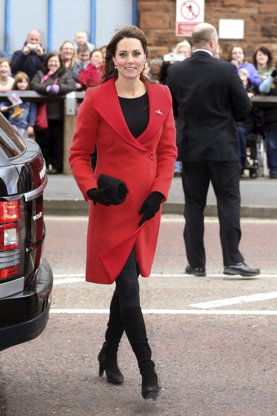 Catherine, Duchess of Cambridge arrives at the Astute class Submarine Building at BAE Systems in Barrow-in-Furness, northern England April 5, 2013.