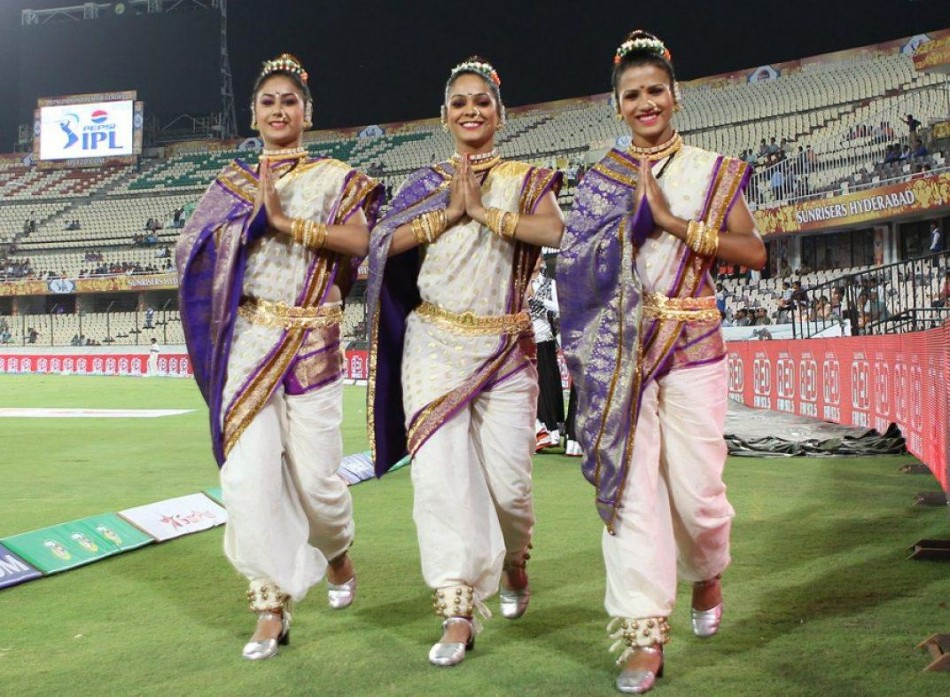 Pune Warriors cheerleaders during match 3 of of the Pepsi Indian Premier League between The Sunrisers Hyderabad and The Pune Warriors held at the Rajiv Gandhi International Stadium, Hyderabad on the 5th April 2013