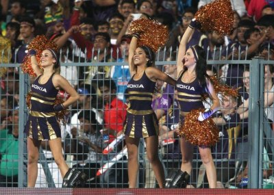 Cheerleaders perform during the opening match between Kolkata Knight Riders and Delhi Daredevils of the Pepsi Indian Premier League held at the Eden Gardens Stadium in Kolkata on the 3rd April 2013