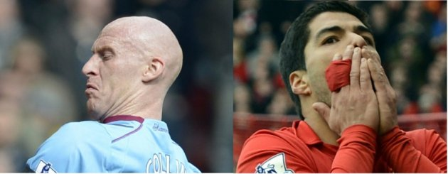 James Collins and Luis Suarez