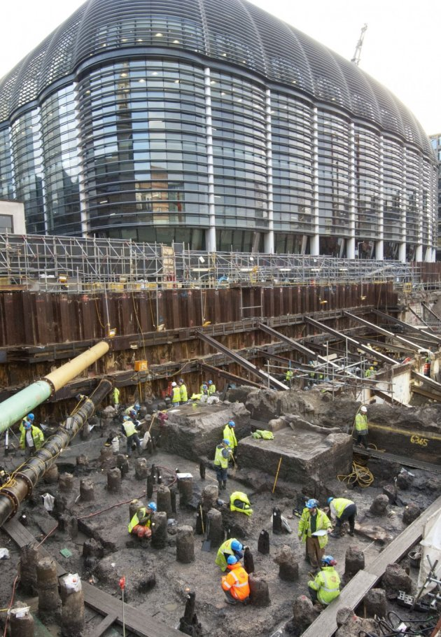 View of the excavations at Bloomberg Place looking south east