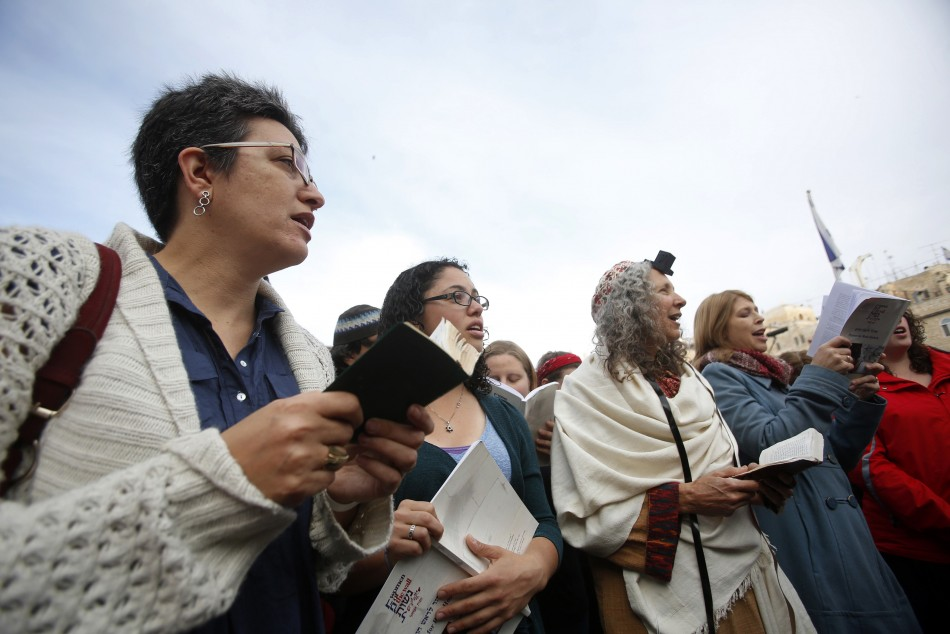 """Members of """"Women of the Wall"""" group pray at the Western Wall in Jerusalem's Old City"""