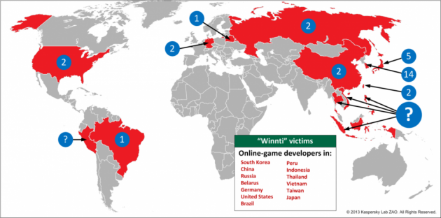Chinese Hacking Ring Kaspersky map
