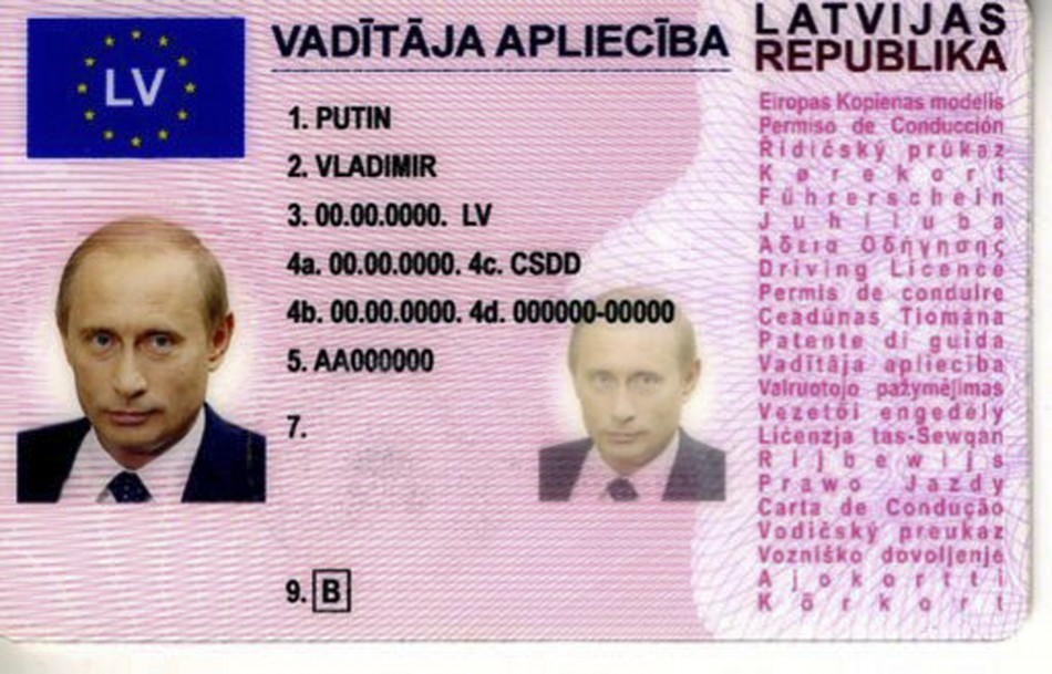 Fake driving license with the details of Russian president Vladimir Putin