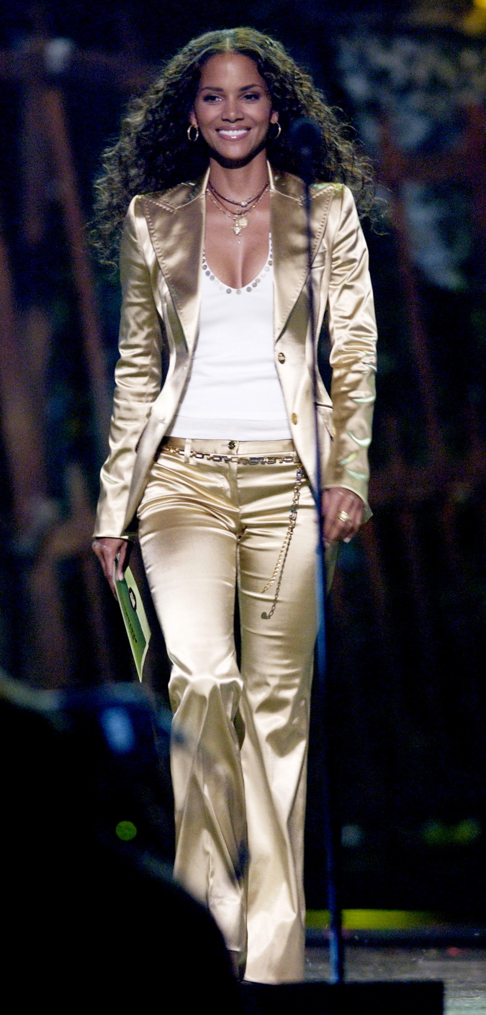 Actress Halle Berry walks on stage to present an award during the 2004 MTV Movie Awards on Saturday night, June 5, 2004 in Culver City, California