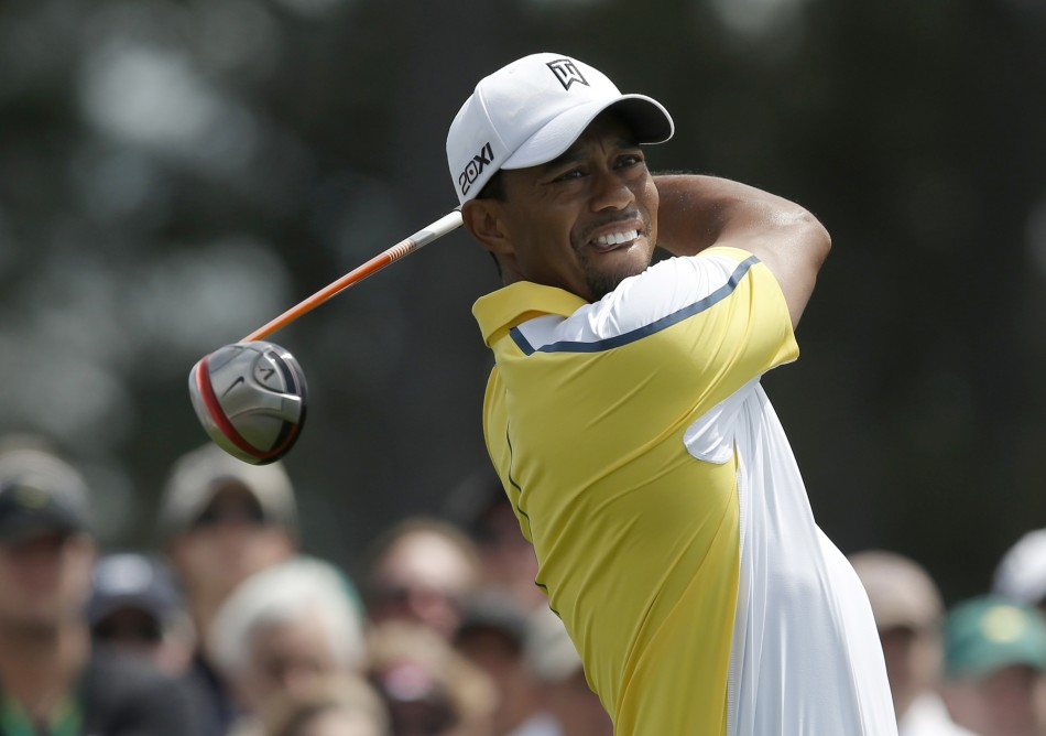 Woods in action at the Augusta Masters
