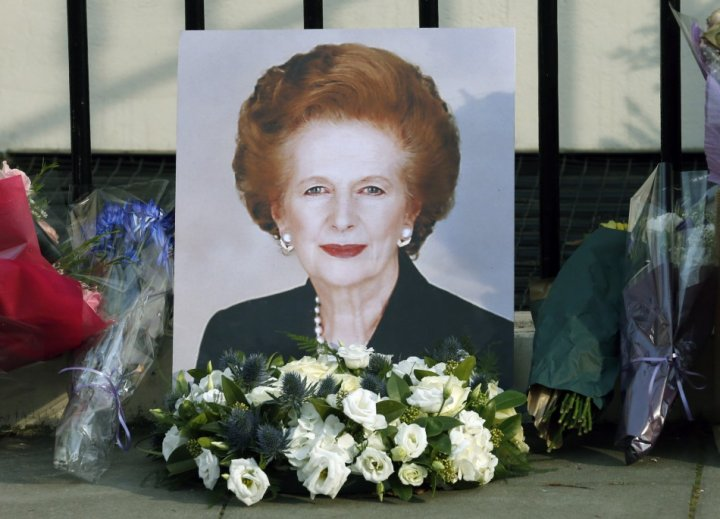 A portrait left by mourners is seen outside the home of former British prime minister Margaret Thatcher after her death.