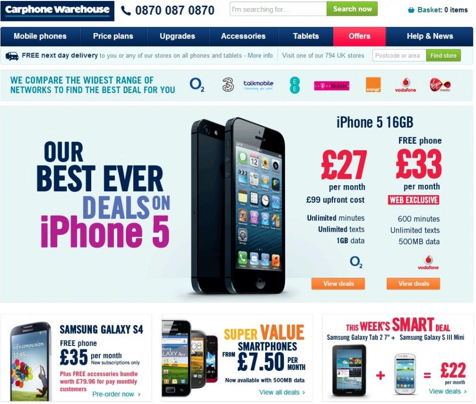UK Carphone Warehouse offer