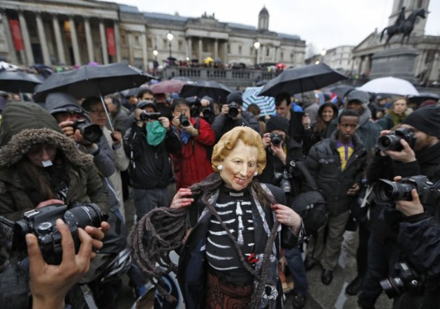 About 3,000 people gathered in Trafalgar Square on Saturday 13 April, to protest against Thatcher's legacy.