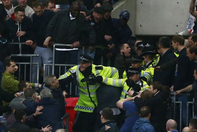 Fans and police clash at Wembley