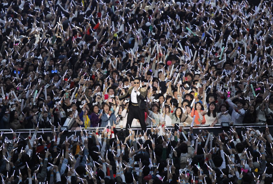 South Korean rapper Psy C performs during his concert Happening in Seoul April 13, 2013. Psy will perform Gentleman in public for the first time on Saturday at a concert at Seouls World Cup stadium but he has been coy about