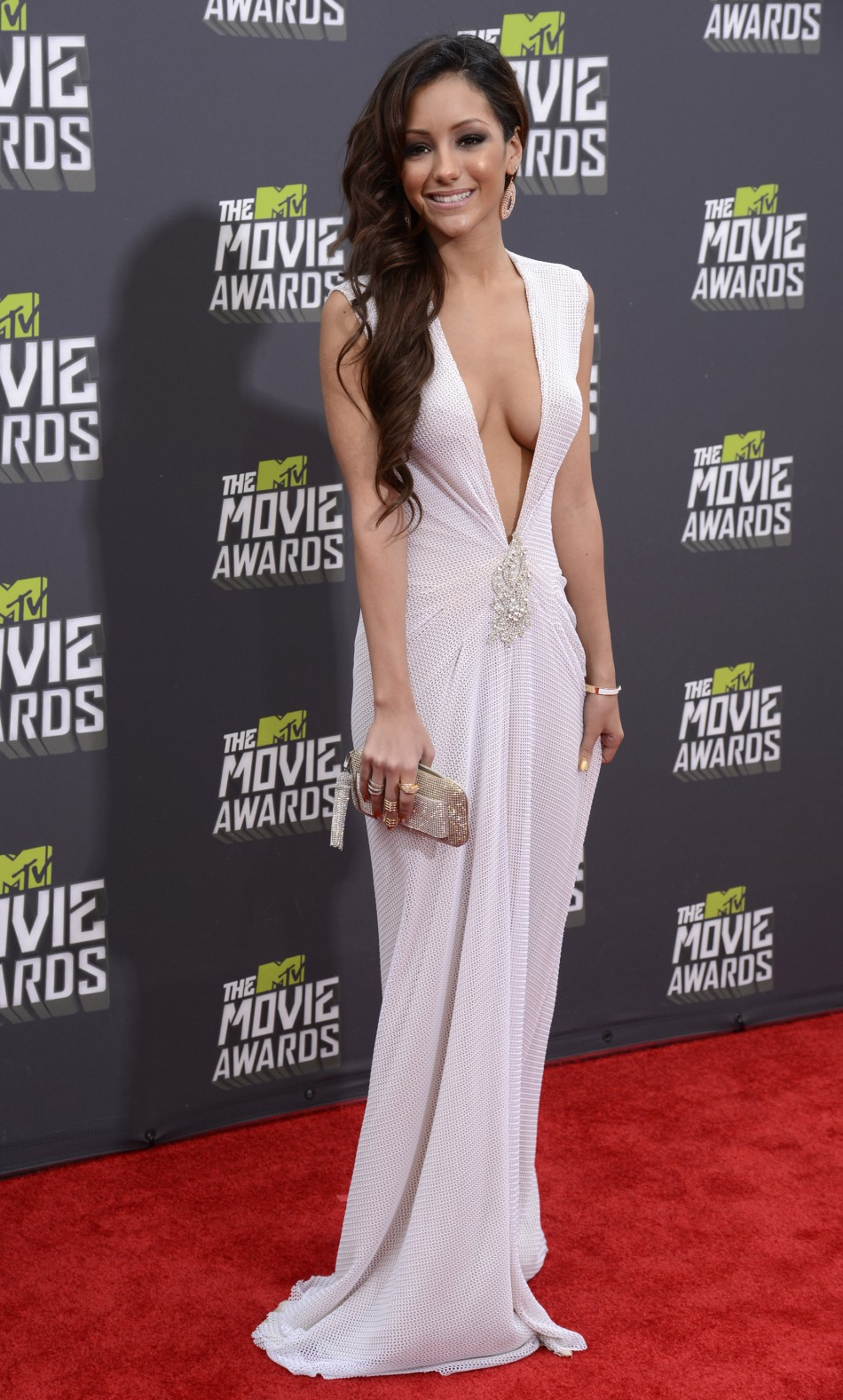 Reality television star Melanie Iglesias arrives at the 2013 MTV Movie Awards in Culver City, California April 14, 2013.