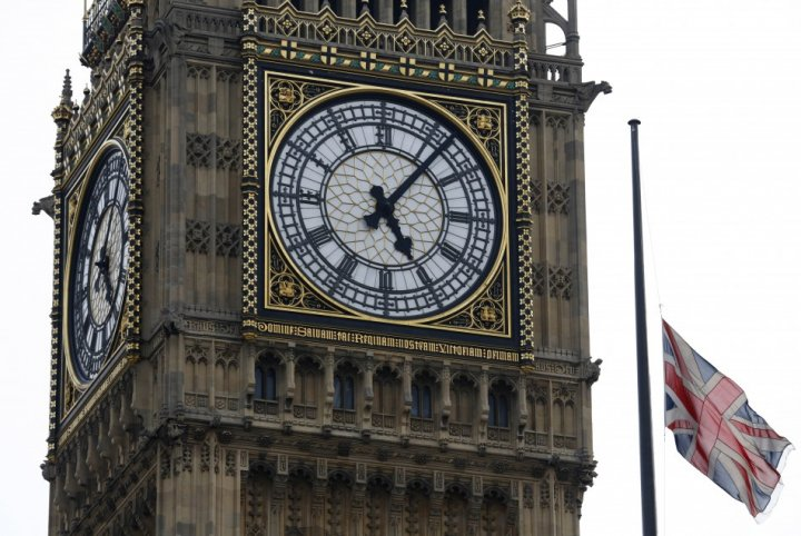 A Union flag flies at half mast next to the Big Ben clock tower following the death of Margaret thatcher (Reuters