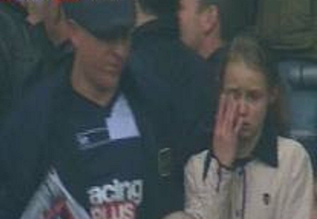 Girl in tears at violence by Millwall fans