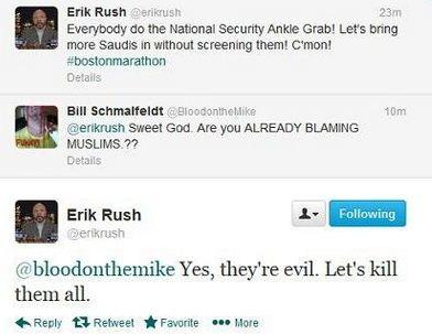 Fox News contributor Erik Rush says 'Kill all Muslims' in Response to Boston Marathon Attack