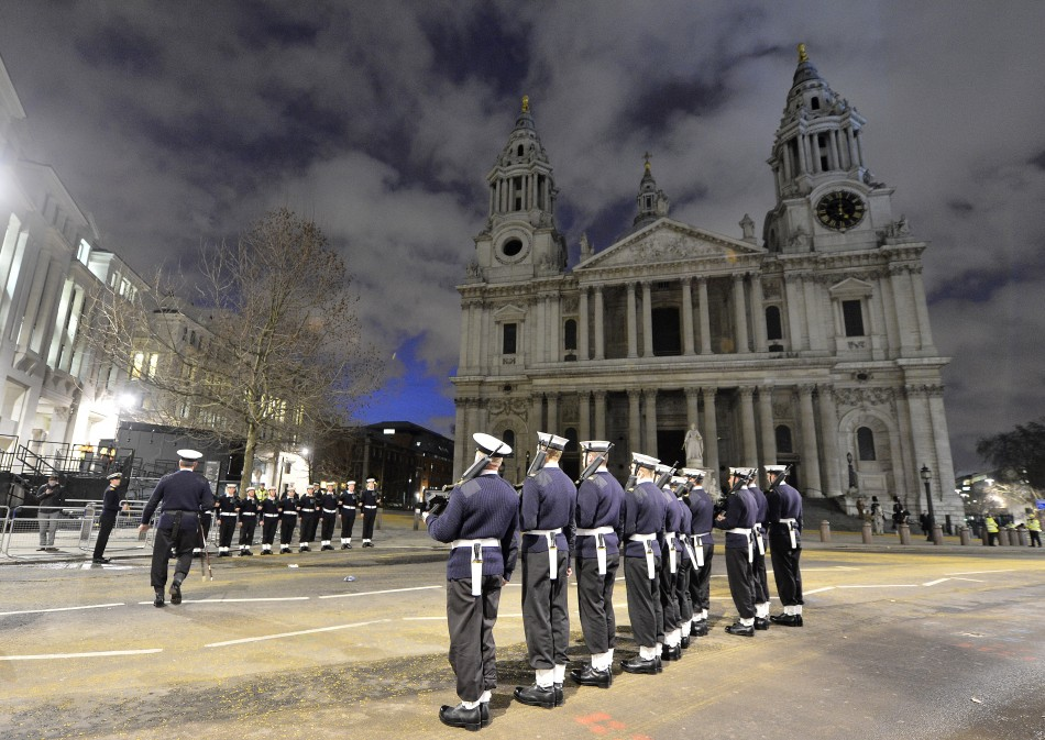 Military practice Thatcher's funeral at St Paul's