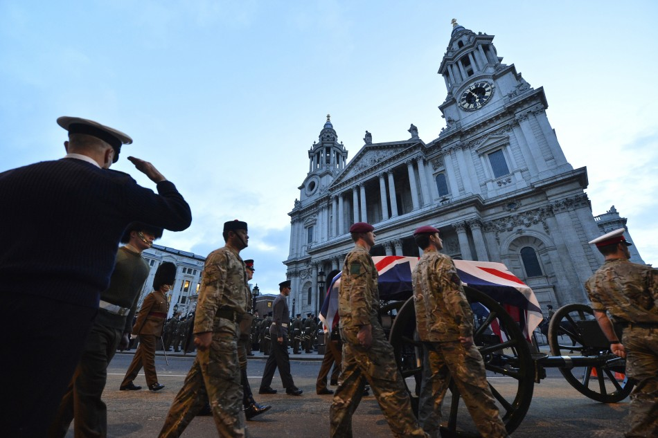Military practice Thatcher's funeral at St Paul's Cathedral