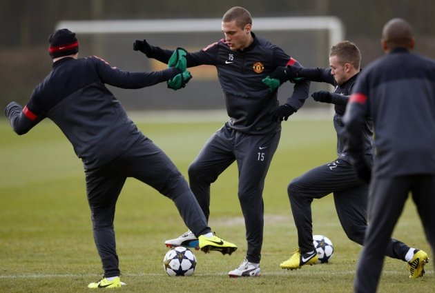 Manchester United players during training