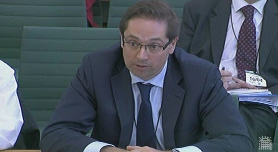 Paul Massara, CEO at RWE npower gives evidence at the Energy Energy and Climate Change Select Committee (Photo: Parliament TV)