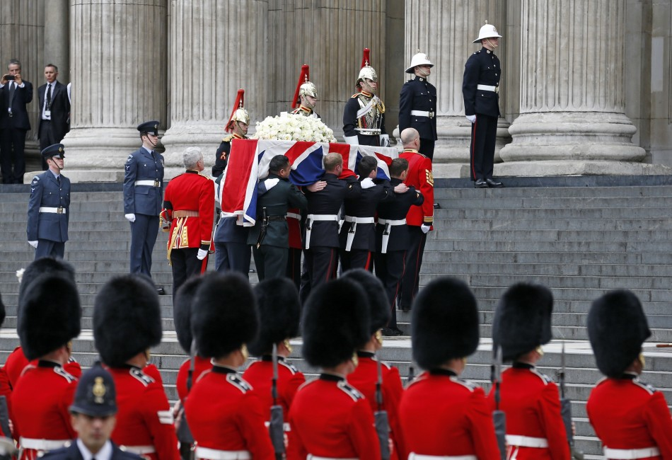 The coffin of former British prime minister Margaret Thatcher is carried by the Bearer Party as it arrives for her funeral service (Reuters)